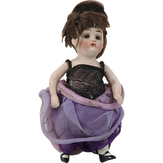 Antique German Sleepy Eye All Bisque Fancy Lady Doll 4-1/2""
