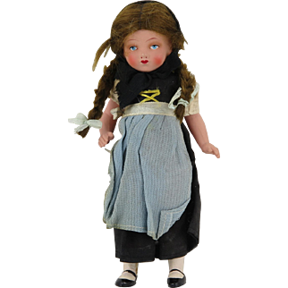 c1925 German Blue Eyed Celluloid All Original Costume Doll 7""