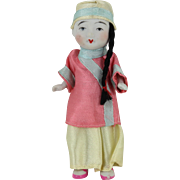 """Chinese Porcelain Doll in Silk Clothing 5"""""""
