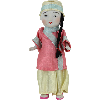 Chinese Porcelain Doll in Silk Clothing 5""