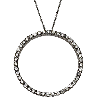 14 Karat White Gold Diamond Eternity Circle Pendant
