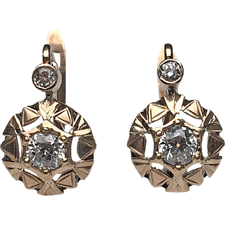 14 Karat Yellow Gold Diamond Victorian Earrings