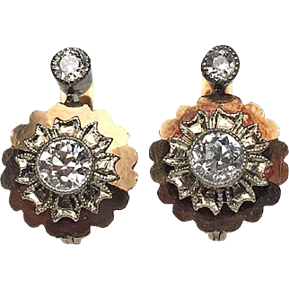 14 Karat Yellow Gold Old European Cut Victorian Diamond Earrings