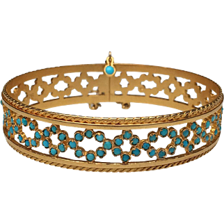 18 Karat Yellow Gold and Turquoise Cuff Bracelet