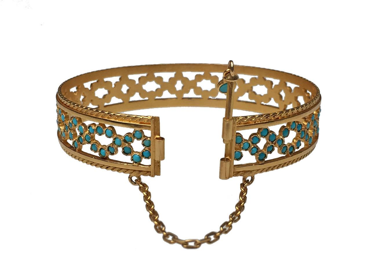 18 karat yellow gold and turquoise cuff bracelet from for Estate jewelry burlington vt