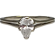 14 Karat White Gold Pear Shaped Solitaire Engagement Ring