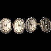 14 Karat Yellow Gold Art Deco Oval Engraved Cufflinks