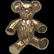 14 Karat Yellow Gold Teddy Bear Brooch with Ruby Eyes