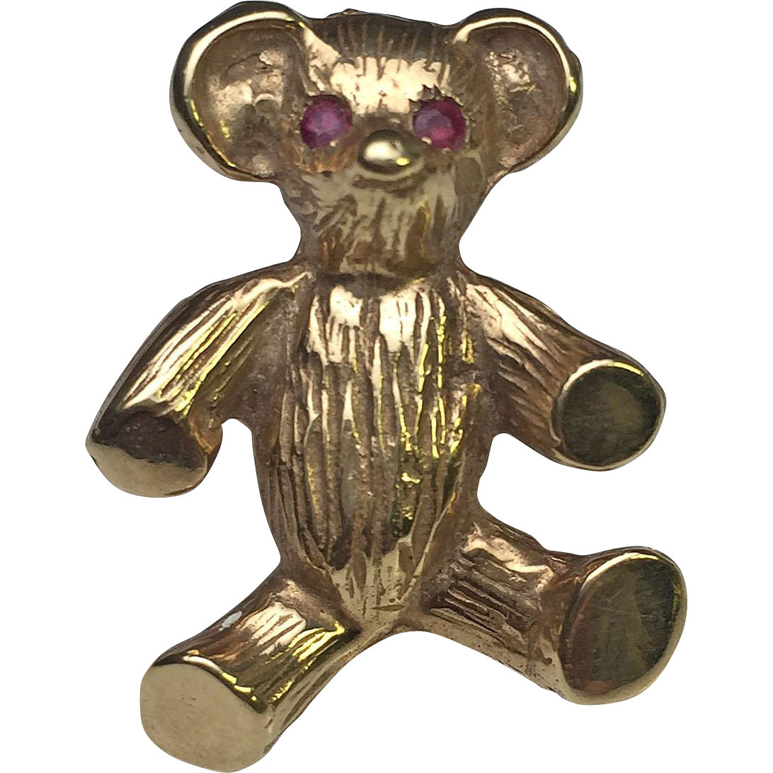 14 karat yellow gold teddy bear brooch with ruby eyes for Estate jewelry burlington vt