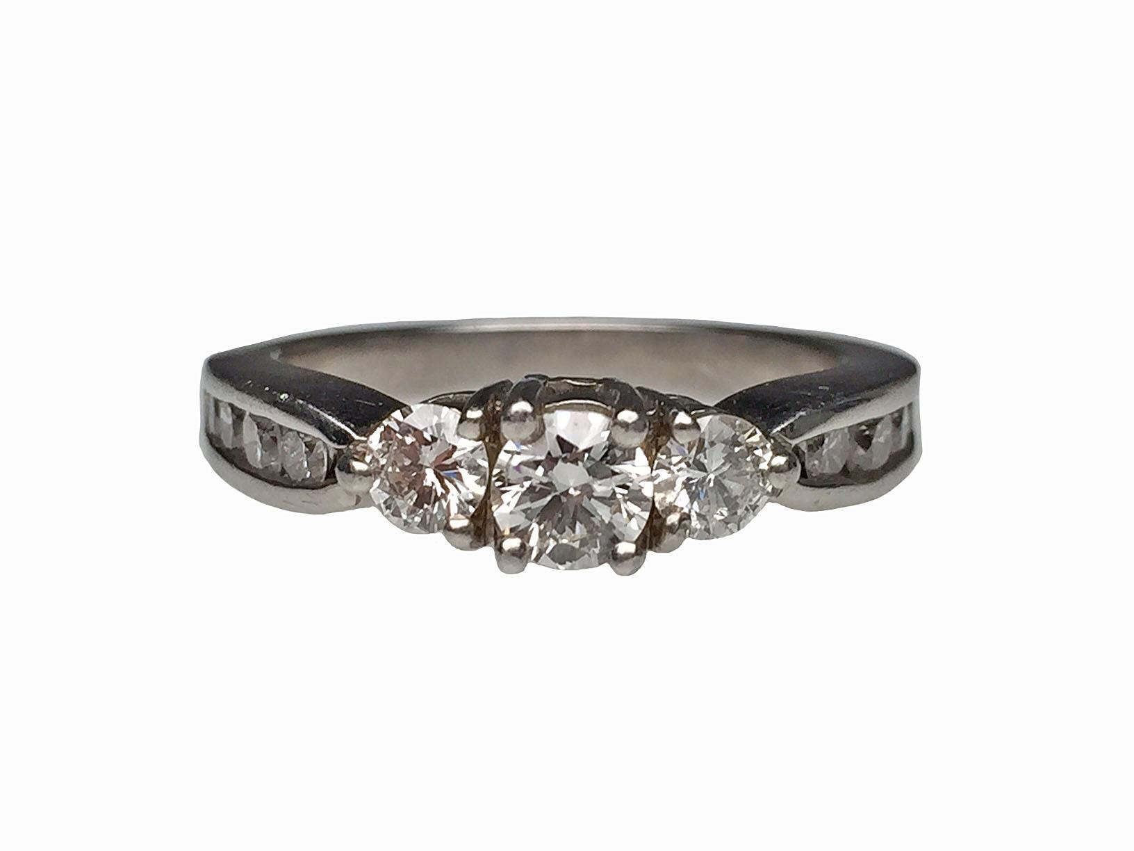 Platinum diamond estate engagement ring from lippas estate for Estate jewelry burlington vt