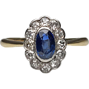 Silver Topped 18 Karat Yellow Gold Sapphire and Diamond Victorian Ring