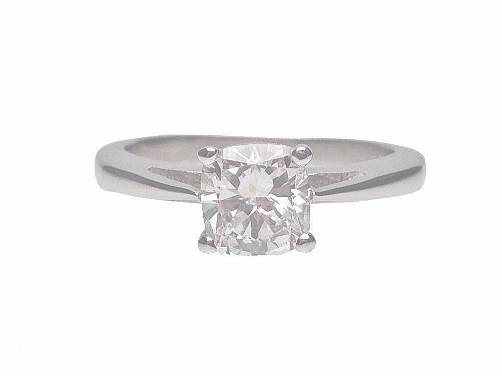 18 karat white gold cushion cut solitaire diamond for Estate jewelry burlington vt