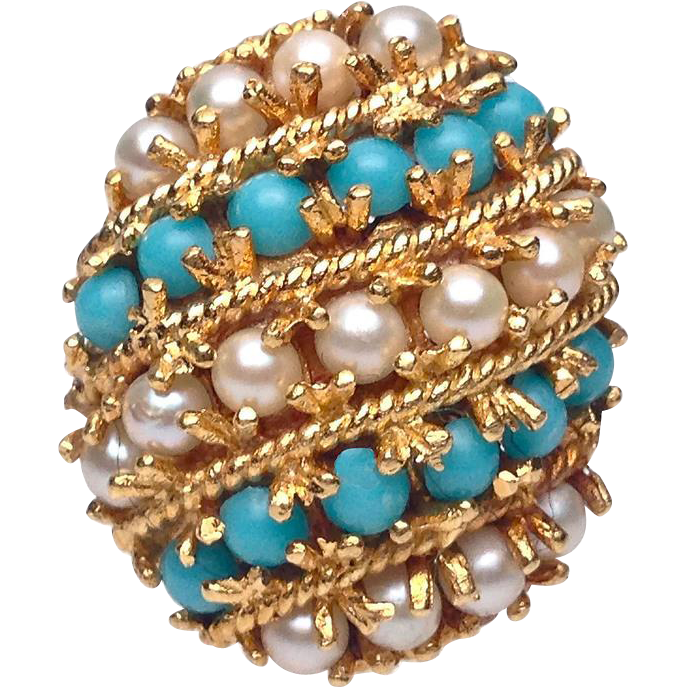 18 karat yellow gold turquoise and pearl striped ring from for Estate jewelry burlington vt