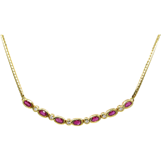 14 Karat Yellow Gold Bezel Set Ruby and Diamond Necklace