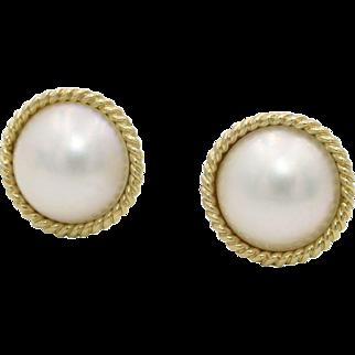 14 Karat Yellow Gold Mabe Pearl Earrings