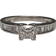 Platinum Princess Cut and Baguette Diamond Ring