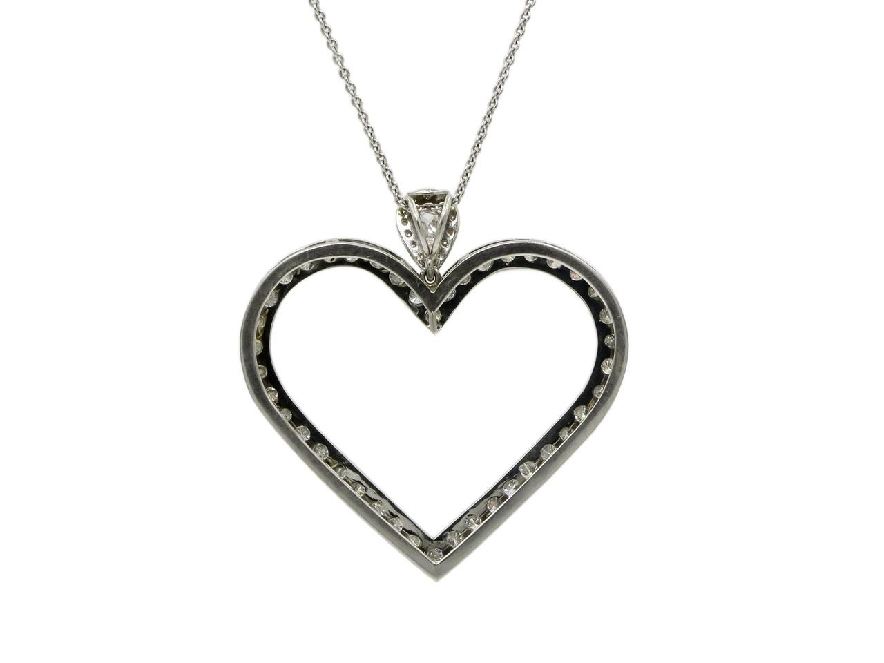 14 karat white gold diamond heart shaped pendant from for Estate jewelry burlington vt