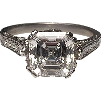 Amazing Platinum Diamond Asscher Cut Diamond Engagement Ring