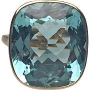 14 Karat Yellow Gold Cushion Cut Bezel Set Aquamarine Ring
