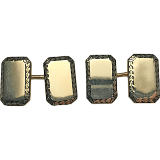 14 Karat Yellow Gold Rectangular Cufflinks with Black Enameled Border