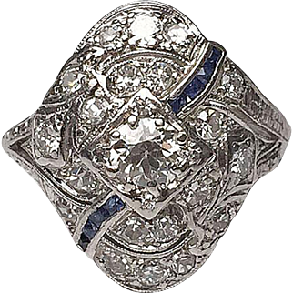Platinum and 14 Karat White Gold Diamond and Sapphire Edwardian Ring