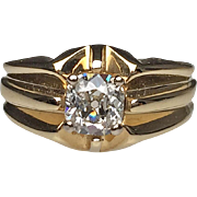 14 Karat Yellow Gold Cushion Cut Diamond Estate Ring