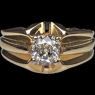 14 Karat Yellow Gold Cushion Cut Diamond Estate Ring