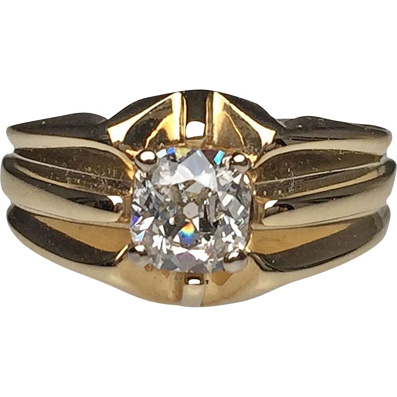 14 karat yellow gold cushion cut diamond estate ring from for Estate jewelry burlington vt