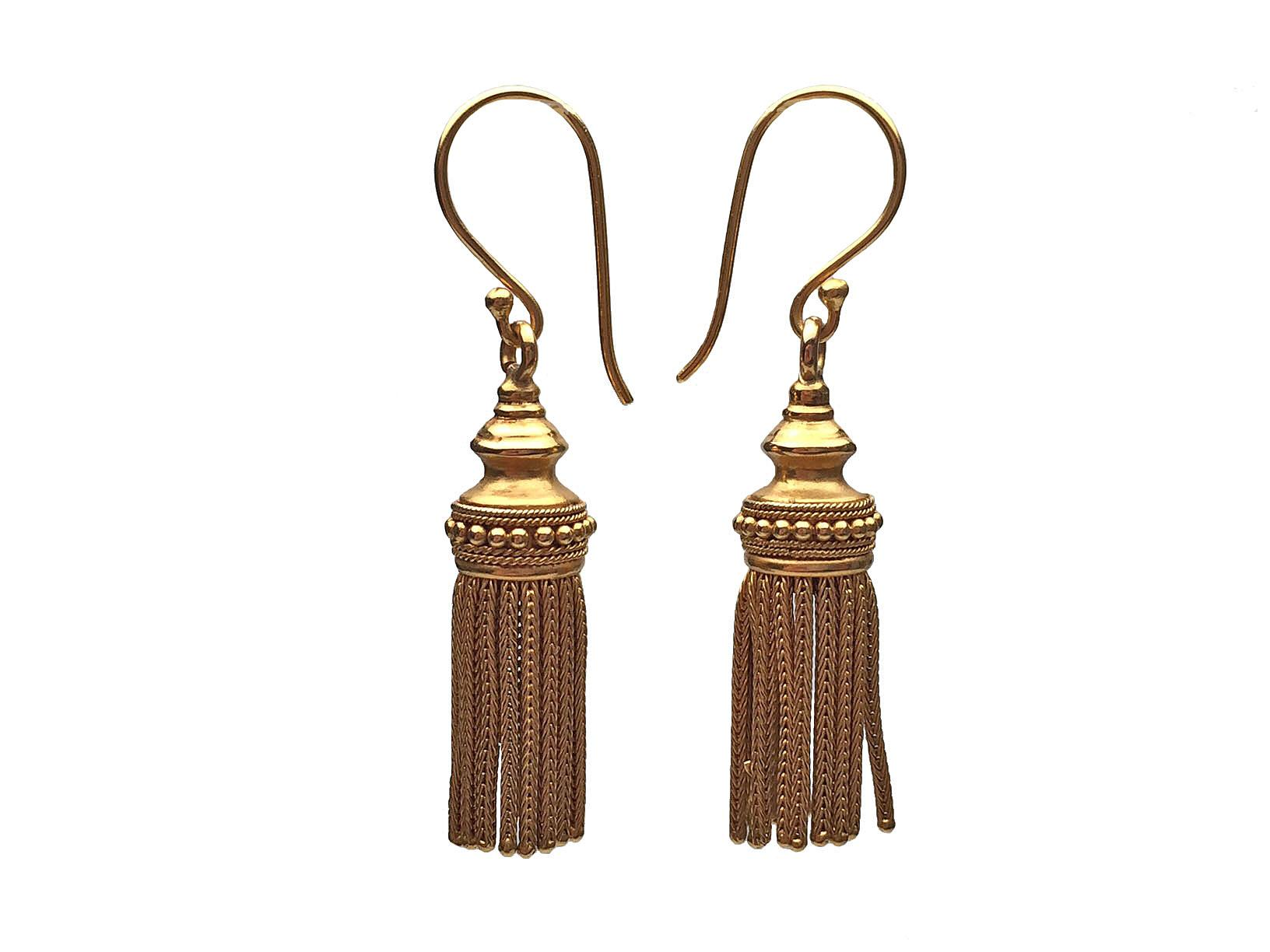 18 karat yellow gold tassel earrings from lippas estate for Estate jewelry burlington vt