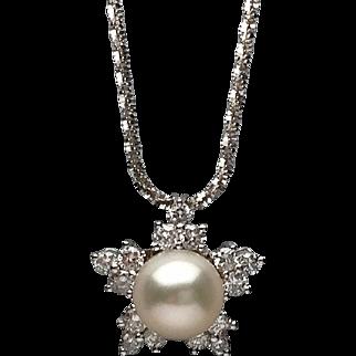 18 Karat White Gold Diamond and Pearl Snowflake Pendant