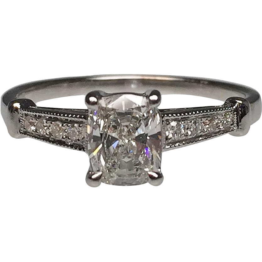 18 karat white gold cushion cut diamond engagement ring for Estate jewelry burlington vt