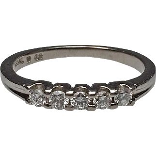 18 Karat White Gold Five Diamond Prong Set Band