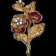 18 Karat Yellow Gold Diamond, Ruby and Enamel Flower Brooch