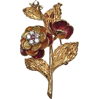 18 Karat Yellow Gold Diamond, Ruby and Enamel Flower Brooch