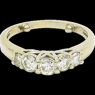 14 Karat Yellow Gold Five Stone Diamond Ring