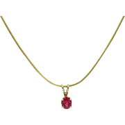 14 Karat Yellow Gold Red Spinel Solitaire Pendant