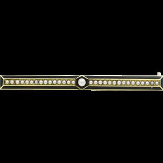 14 Karat Yellow Gold Victorian Seed Pearl and Black Enamel Bar Brooch