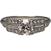 Platinum Diamond Art Deco Ring With Baguettes