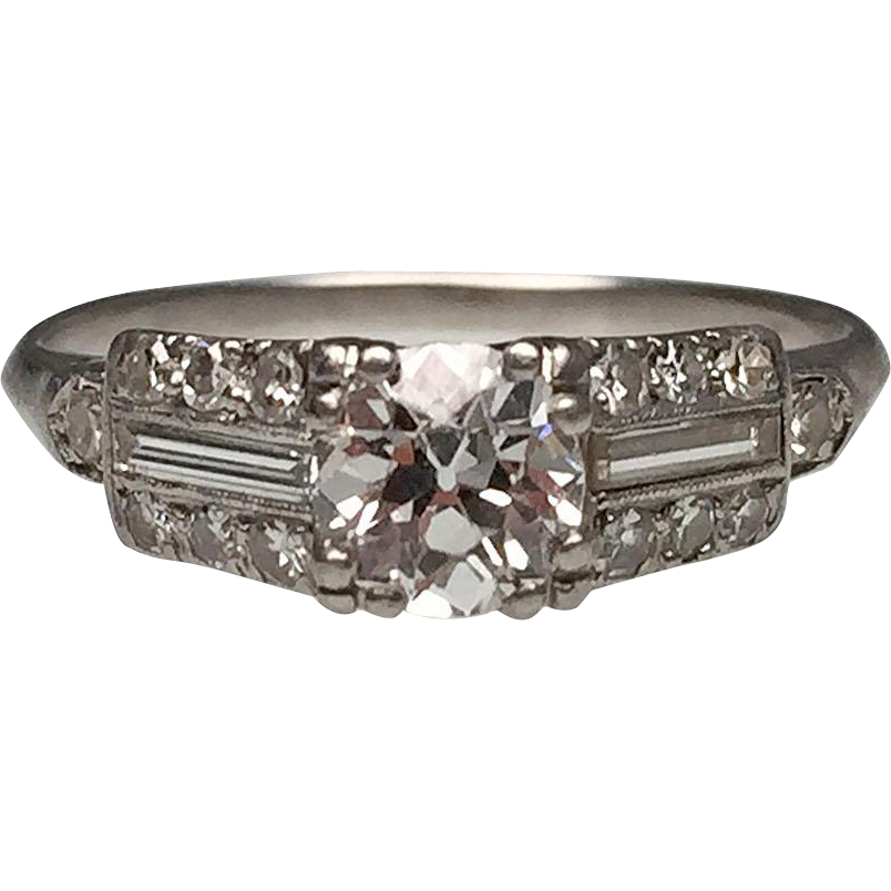 Platinum diamond art deco ring with baguettes lippa 39 s for Estate jewelry burlington vt