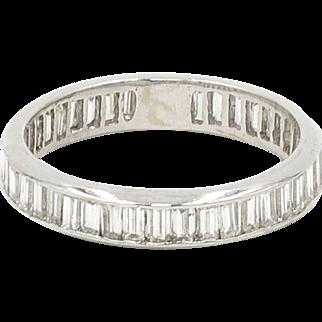 14 Karat White Gold Diamond Baguette Eternity Band