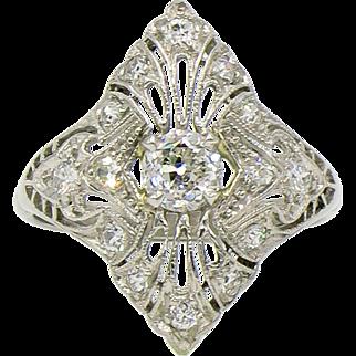 Platinum Edwardian Diamond Cocktail Ring