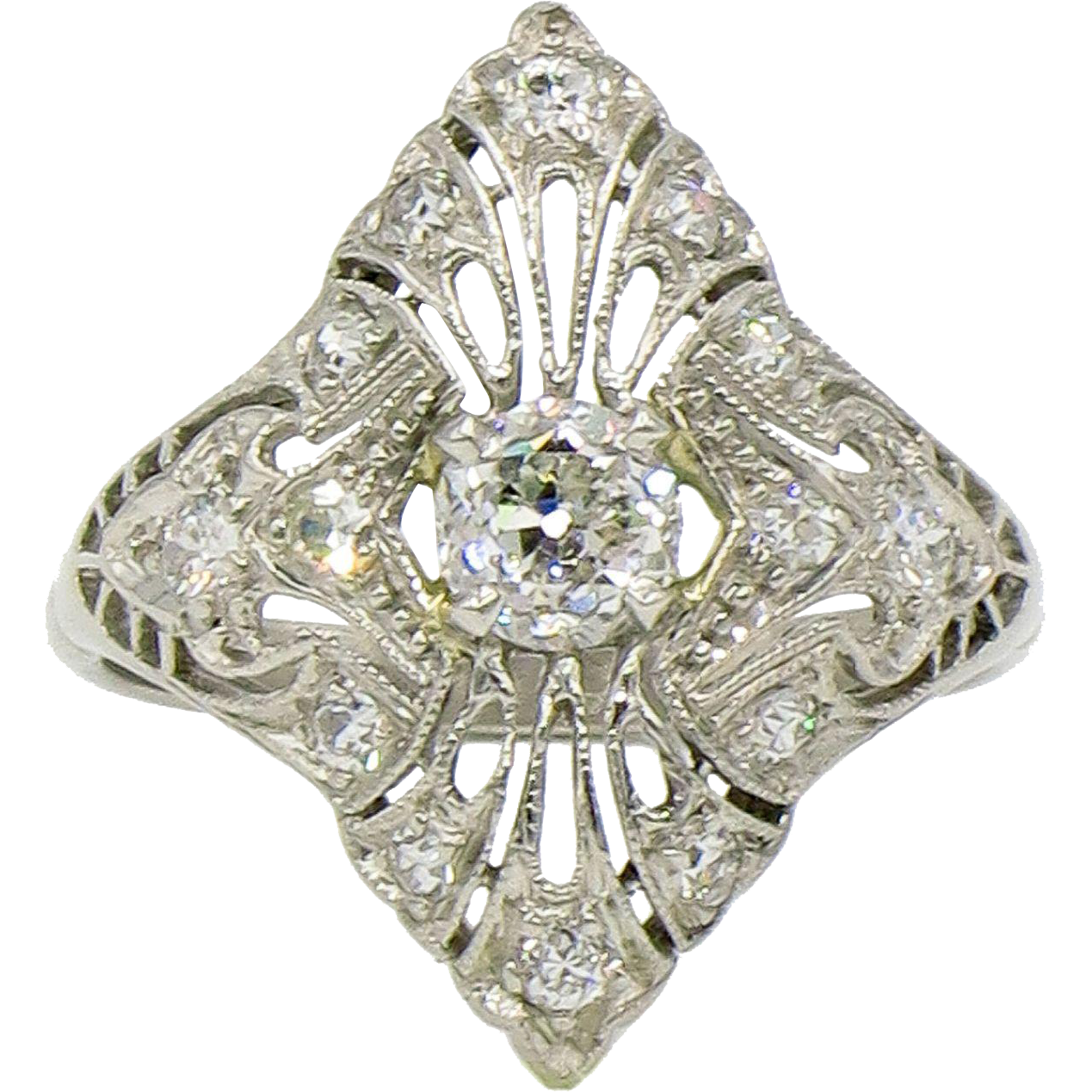 Platinum edwardian diamond cocktail ring lippa 39 s estate for Estate jewelry burlington vt