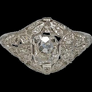 Platinum Edwardian Old Mine Cut Diamond Ring