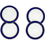 Foster & Bailey Sterling Silver and Blue and White Enamel Guilloche Cufflinks