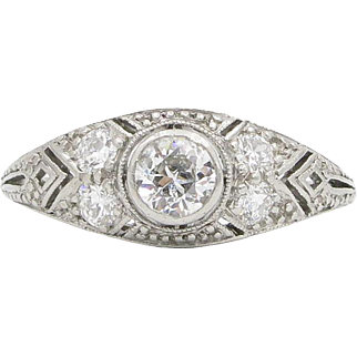 Platinum Old European Cut Diamond Ring by Marcus & Co.