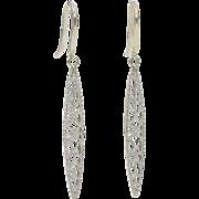 14 Karat White Gold Filigree Earrings