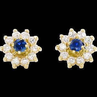 14 Karat Yellow Gold Diamond and Sapphire Flower Earrings
