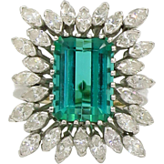 Platinum Green Tourmaline and Diamond Cocktail Ring