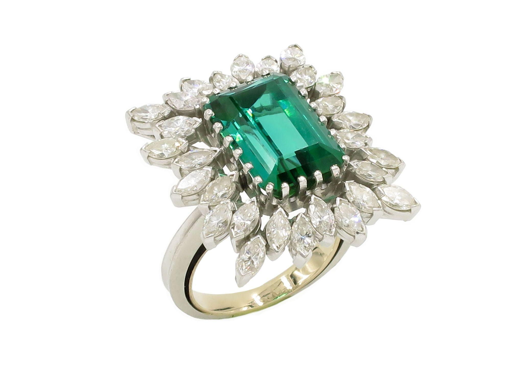 Platinum green tourmaline and diamond cocktail ring from for Estate jewelry burlington vt