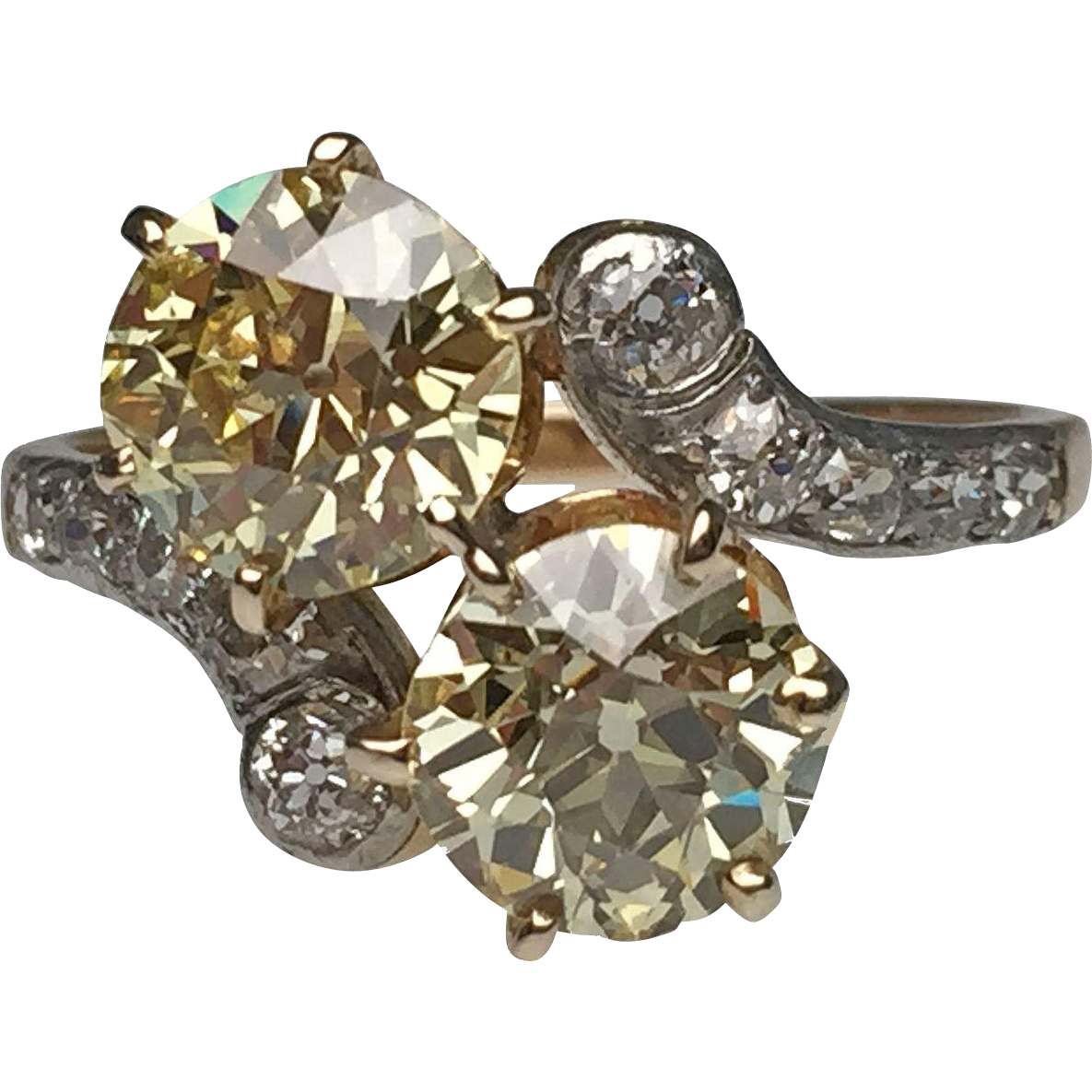 Edwardian old european diamond twin ring from lippas for Estate jewelry burlington vt